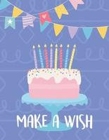 bunte Geburtstagskarte mit Kuchen vektor