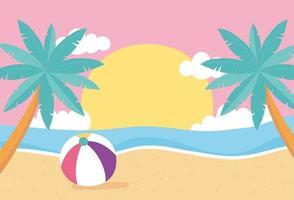 Strandlandschaft mit Ball vektor
