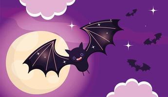 glückliches Halloween-Bild mit niedlichen fliegenden Fledermäusen vektor