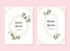 Hochzeitseinladungskartenset mit dekorativen Rahmen- und Blumenelementen vektor