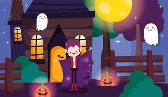 lycklig halloween, trick or treat kortuppsättning med söta karaktärer vektor