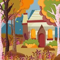Herbstsaison Haus und Landschaft vektor