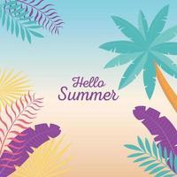 Hallo Sommerbanner mit tropischer Stimmung vektor