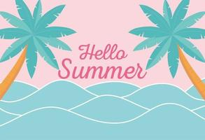 Hallo Sommer mit Strandlandschaft vektor