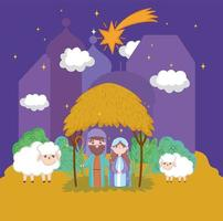 god jul och julkrubba med mary och joseph