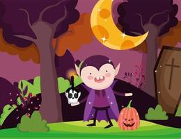 glad halloween bild med söt vampyr vektor