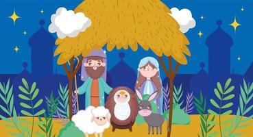 Frohe Weihnachten und Krippe mit Mary, Joseph und Baby Jesus vektor