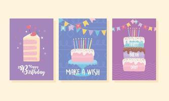 färgrik födelsedagskortuppsättning vektor