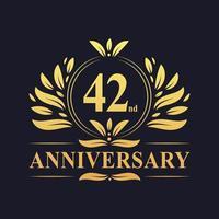 42-årsjubileumsdesign, lyxig gyllene färg 42-årsjubileumslogotyp. vektor