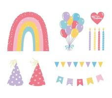 färgglada födelsedag ikonuppsättning vektor