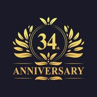 34-årsjubileumsdesign, lyxig gyllene färg 34-årsjubileumslogotyp vektor