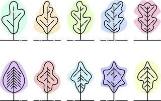 Bäume in verschiedenen Farben, Illustration, Vektor auf weißem Hintergrund eingestellt