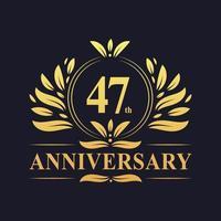 47-årsjubileumsdesign, lyxig gyllene färg 47-årsjubileumslogotyp. vektor
