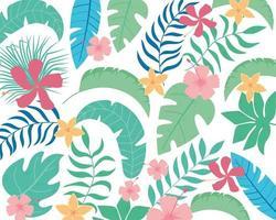 Sommer tropische Blätter und Blumen Hintergrund vektor