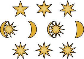 Mond- und Sternphasen, Illustrationssymbolsatz vektor