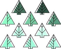 Tannenbaum in verschiedenen Grüntönen gefärbt vektor