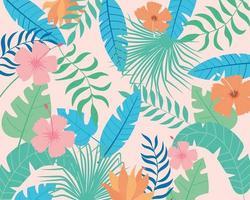 sommar tropiska blad och blommor bakgrund vektor