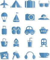 Urlaubsreise, Illustration, Vektor auf weißem Hintergrundsymbolsatz