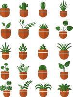 Zimmerpflanzen in Töpfen Icon Set vektor