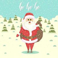santa med en påse med gåvor. landskap med snödrivor och julgranar. platt stilillustration. gott nytt år och jul. handgjorda bokstäver -ho ho ho vektor
