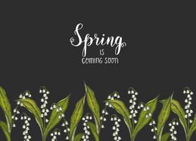 vårbakgrund med handritade blommor liljor i dalen på svart. kan användas för tapeter, webbsidans bakgrund, ytstrukturer. vektor gravyr illustration.