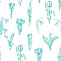 nahtloses Frühlingsmuster mit handgezeichneten Blumenlilien des Tals, der Weide, der Tulpe, des Schneeglöckchens, des Krokus. Muster kann für Tapeten, Webseitenhintergrund, Oberflächentexturen verwendet werden. vektor