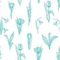 vår sömlösa mönster med handritade blommor liljor i dalen, pil, tulpan, snödroppe, krokus. mönster kan användas för tapeter, webbsidans bakgrund, ytstrukturer. vektor