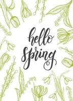 vårkort med handritade blommor-liljekonvaljer, tulpan, pil, snödroppe, krokus - isolerad på vitt. handgjorda bokstäver - hej våren vektor