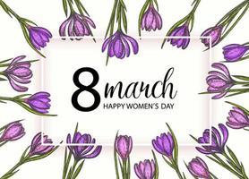 Alles Gute zum Tag der Frauen. Hintergrund zum 8. März Frauentag. Frühlingsblumen handgezeichnete lila und rosa Krokusse. Vintage Hand gezeichneter Satz Krokus. vektor