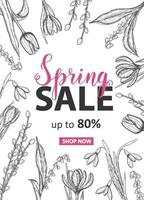 Frühlingsverkauf bis zu 80 aus Karte mit handgezeichneten Blumen-Maiglöckchen, Tulpe, Schneeglöckchen, Krokus. handgemachte Schrift vektor
