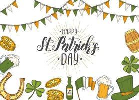 St. Patrick's Day Poster mit handgezeichneten st. Patrick's Hut, Hufeisen, Bier, Fass, irische Flagge, vierblättriges Kleeblatt und Goldmünzen. Beschriftung. Gravurabbildungen vektor
