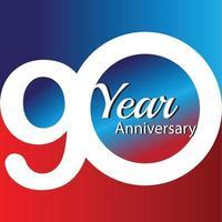 90 Jahre Jubiläum Logo Vektor Vorlage Design Illustration