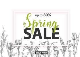 vårförsäljning. upp till 80 kort med handritade blommor-liljekonvaljer, tulpan, snödroppe, krokus. handgjorda bokstäver vektor
