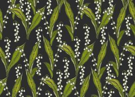 nahtloses Frühlingsmuster mit handgezeichneten Blumenlilien des Tals auf Schwarz. Muster kann für Tapeten, Webseitenhintergrund, Oberflächentexturen verwendet werden. vektor