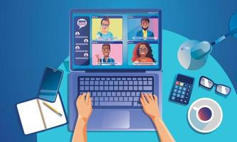virtuella evenemang människor använder videokonferens. arbetande person på fönsterskärmen som pratar med kollegor. sida för videokonferenser och mötesarbetsytor online vektor
