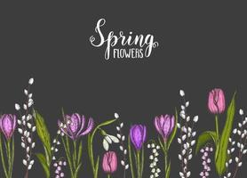 Frühlingshintergrund mit handgezeichneten Blumen-Maiglöckchen, Tulpe, Weide, Schneeglöckchen, Krokus auf Schwarz. für Tapeten, Webseitenhintergrund, Oberflächenstrukturen. Vektor Gravur Illustration