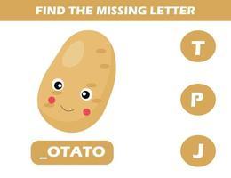 finde fehlenden Buchstaben mit Kartoffel vektor