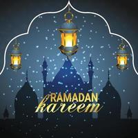 islamischer Gruß Ramadan Kareem-Kartenentwurfshintergrund vektor
