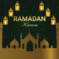 islamisk bakgrund med månen och lyktor vektor