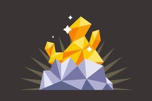 hitta en guldklump i den mörka gruvan. platt vektorillustration vektor