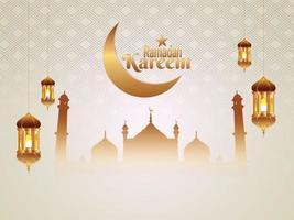 flache islamische Grußkarte Ramadan Kareem Hintergrund vektor