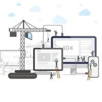 flaches Design der im Bau befindlichen Website, Webseitenerstellungsprozess mit Figurenstableuten. Richten Sie Ihr Telefon und Tablet ein. vektor