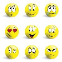 Satz von Emoticons. Satz von Emoji. Lächelnikonen lokalisiert auf dem weißen Hintergrund.