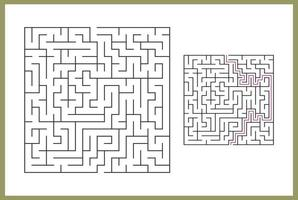 labyrint för barn. abstrakt fyrkantig labyrint. hitta vägen till gåvan. spel för barn. pussel för barn. labyrintkonst. platt vektorillustration isolerad på vit bakgrund. med svar vektor