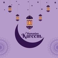 ramadan kareem platt design med islamiska lyktor vektor
