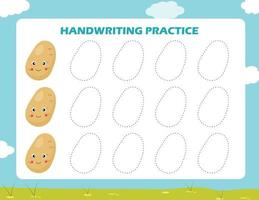 Verfolgen Sie die Linien mit Cartoon-Kartoffeln. Schreibfertigkeiten üben. vektor