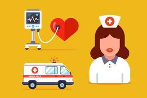 medicinsk uppsättning med sjukhuspersonal och utrustning. platt vektorillustration.