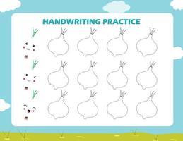 Verfolgen Sie die Linien mit Cartoon-Zwiebeln. Schreibfertigkeiten üben. vektor