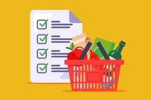 Einkaufskorb und eine Liste der Produkte vektor