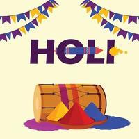 Holi Festival Drum Flat Design und Illustration